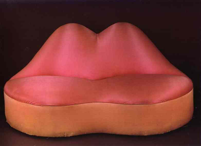 Mae Wests Lips Sofa 1936 by Salvador Dali
